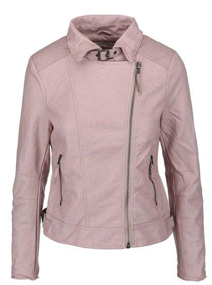Ružová koženková biker bunda YAYA