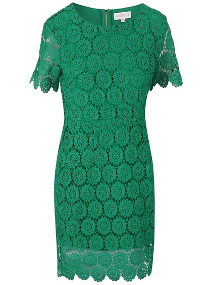 Zelené čipkované šaty s krátkym rukávom Apricot