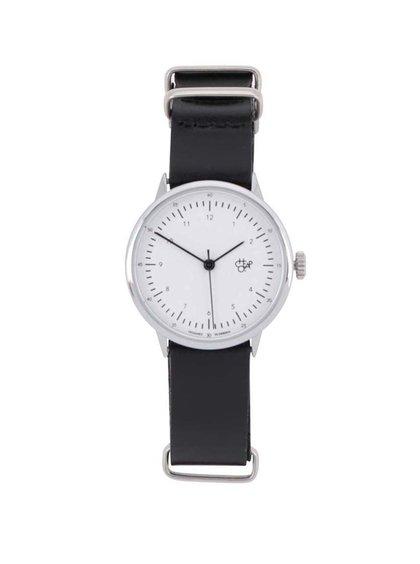 Dámské hodinky ve stříbrné barvě s černým koženým páskem CHPO Harold Mini