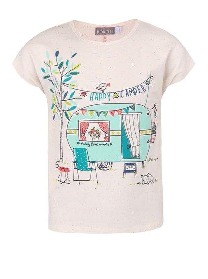 Krémové dievčenské tričko s farebnou potlačou BÓBOLI