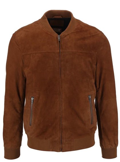 Jachetă bomber maro Jack&Jones din piele