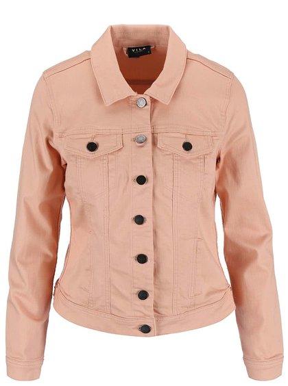 Jachetă VILA Per denim de culoarea caisei