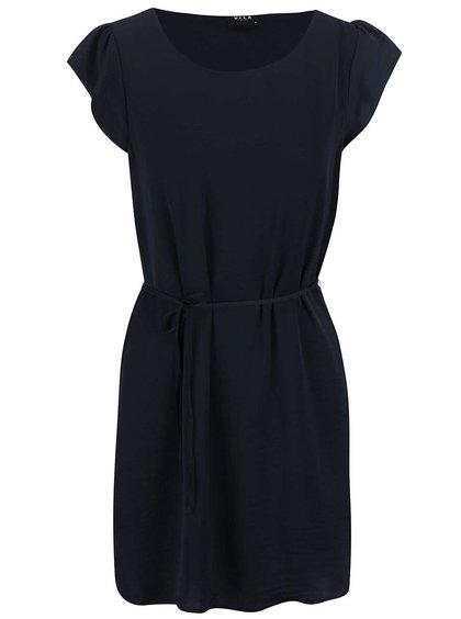 Tmavomodré šaty so zaväzovaním VILA Pocka