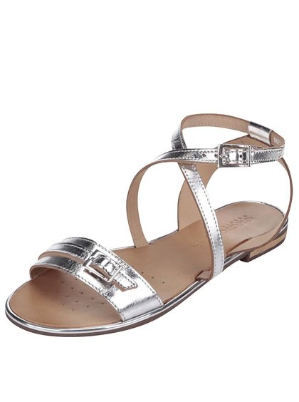 Kožené sandálky ve stříbrné barvě Geox Sozy