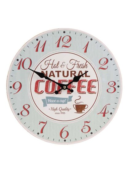 Světle zelené dřevěné retro hodiny Dakls Coffee