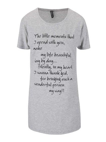 Tricou Madonna Alda, de culoare gri deschis, cu print