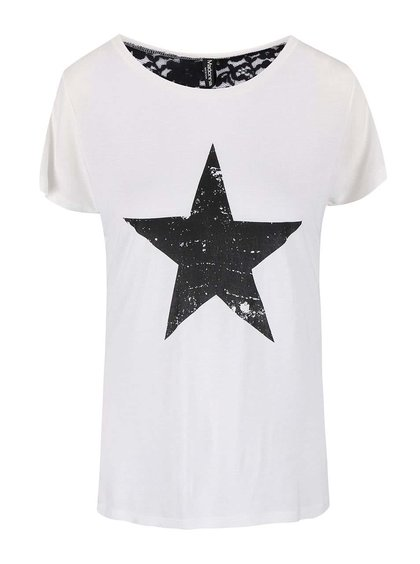 Bílé tričko s potiskem hvězdy Madonna
