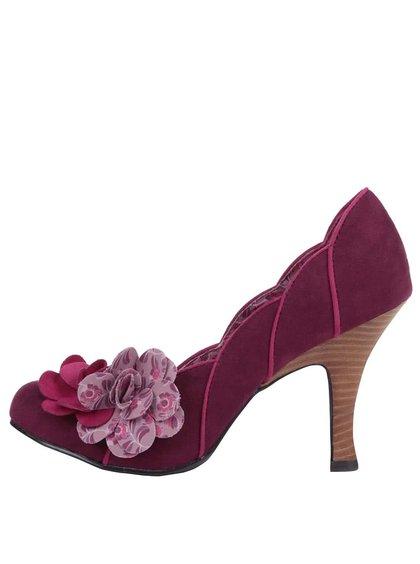Vínové lodičky s květinou Ruby Shoo April
