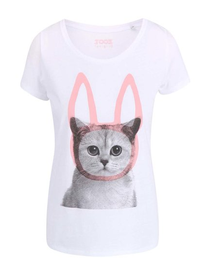 Bílé dámské tričko ZOOT Originál Bunny-Cat