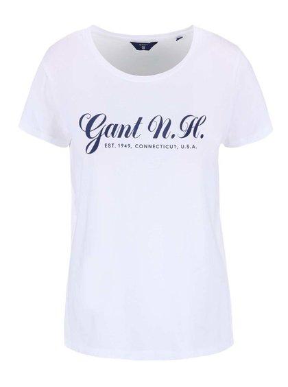 Biele tričko s potlačou GANT