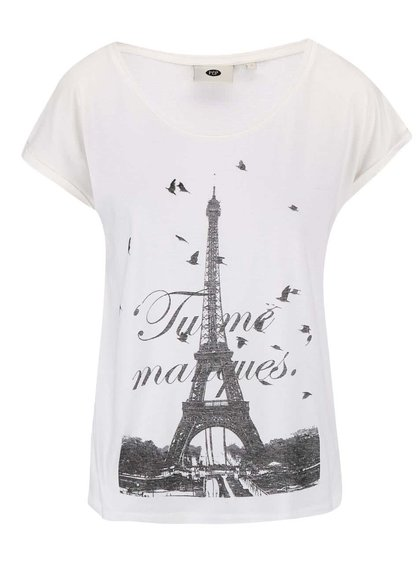 Krémové tričko s motivem Eiffelovky PEP Birta