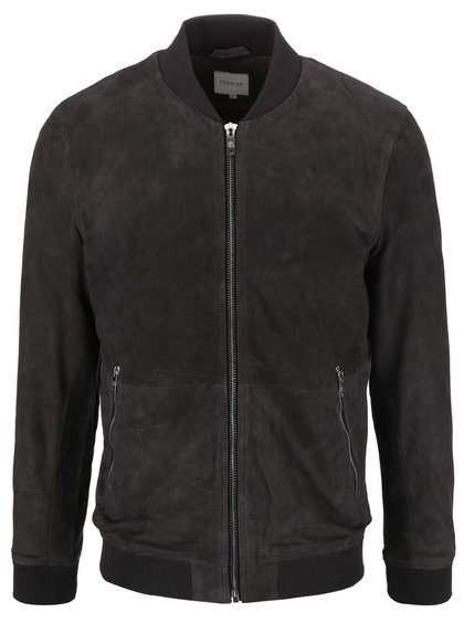 Tmavě šedá kožená bunda Jack & Jones Thak