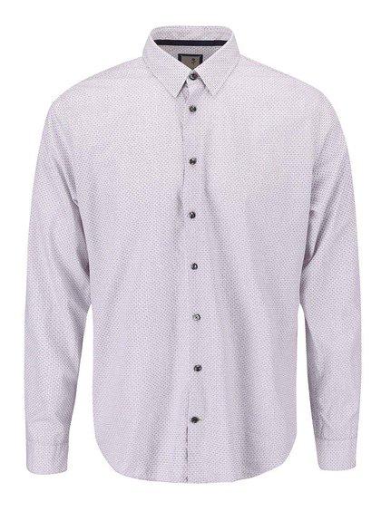 Bílá košile s modro-červeným drobným vzorem Seidensticker Oscar Plain Slim Fit