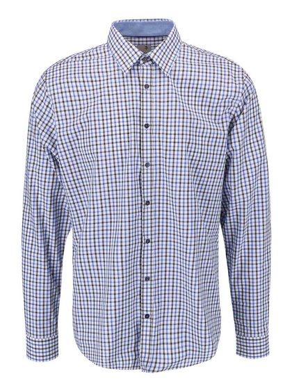 Bílá košile s modro-hnědým kárem Seidensticker Modern Kent Patch Slim Fit
