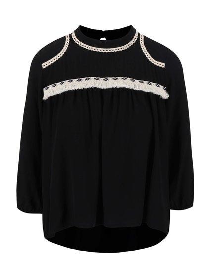 Čierny dámsky top s čipkovanou dekoráciou Alchymi Tourmaline