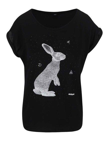 Čierne tričko s potlačou Alchymi Opal