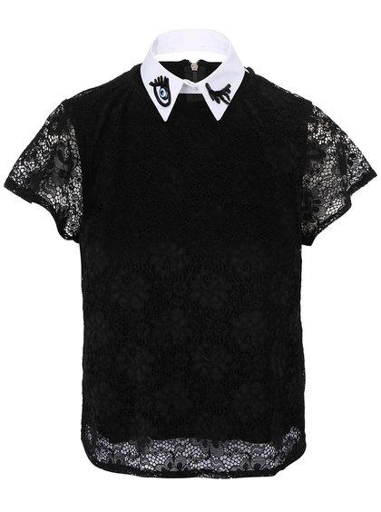 Černý top s bílým vzorovaným límečkem Alchymi Carina