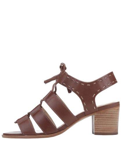 Hnedé kožené sandále na podpätku Dune London Ivanna