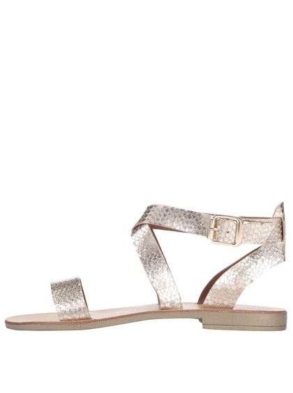Kožené sandálky v zlatej farbe Dune London Lotti