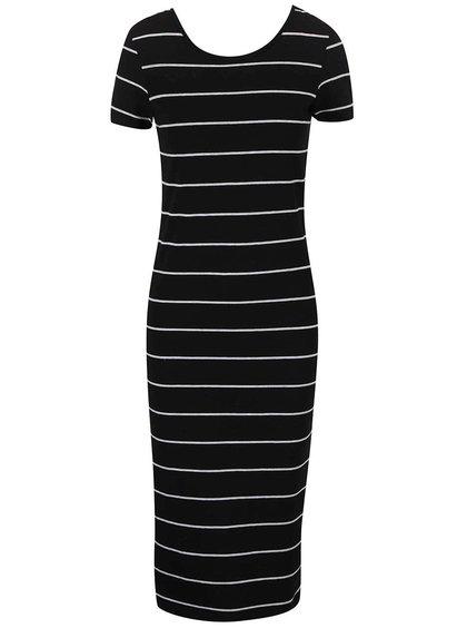 Čierne dlhé šaty s prúžkami ONLY Abbie