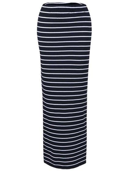 Tmavě modrá dlouhá pruhovaná sukně s rozparky ONLY Abbie