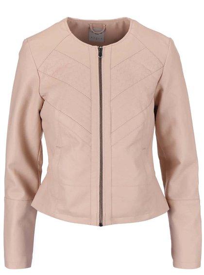Jachetă VERO MODA Lewa din imitație de piele roz deschis