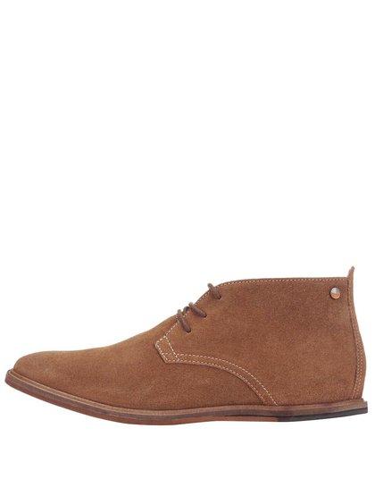 Hnedé kožené členkové topánky Frank Wright Strachan