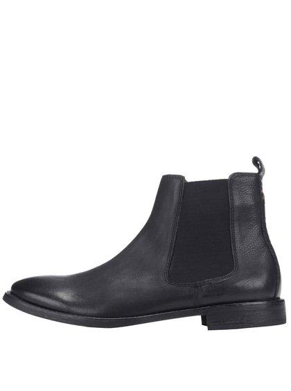 Čierne kožené členkové chelsa topánky Frank Wright Omar