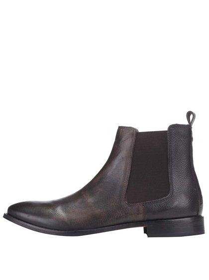 Tmavohnedé kožené členkové chelsea topánky Frank Wright Omar