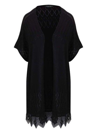 Černé kimono s krajkovými detaily bez zapínání Dorothy Perkins