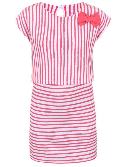 Bielo-ružové pruhované dievčenské šaty name it Giddy