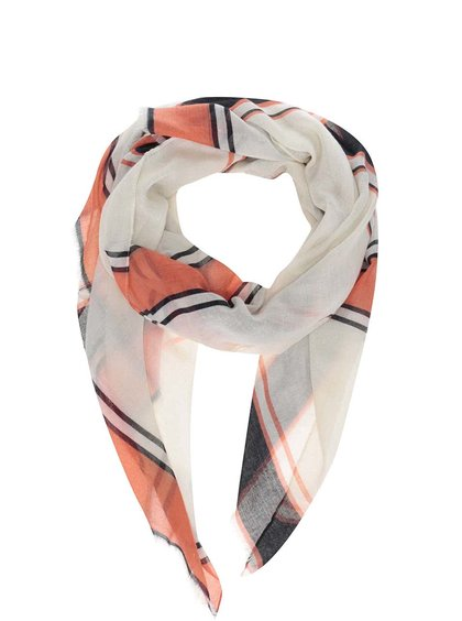 Krémový dámský šátek s červeno-černými pruhy Broadway Dulcina