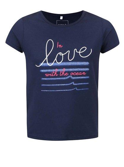 Modré holčičí tričko s nápisem name it Vix