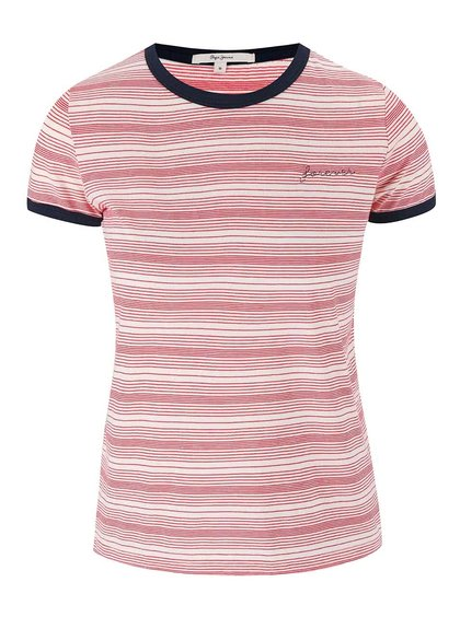Červeno-bílé tričko Pepe Jeans Donna