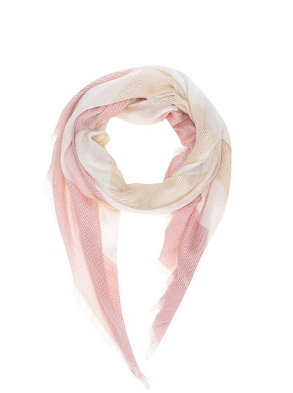 Eșarfă Broadway Danette de damă crem cu dungi roz