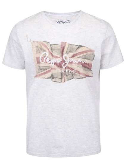 Světle šedé pánské triko s vlajkou Pepe Jeans Flag