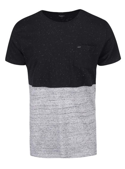 Šedo-černé pánské triko Pepe Jeans Portobello