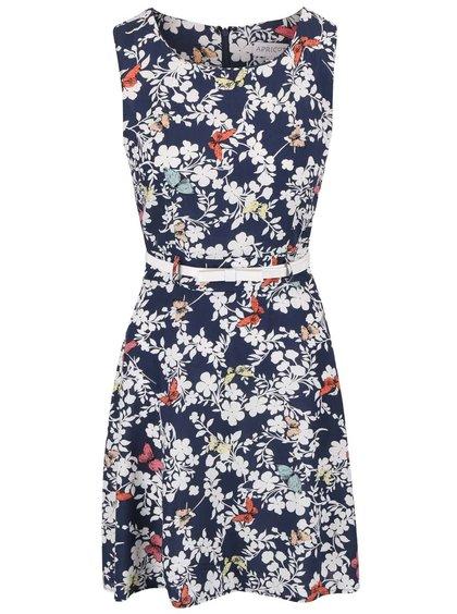 Tmavě modré květované šaty s tenkým páskem Apricot