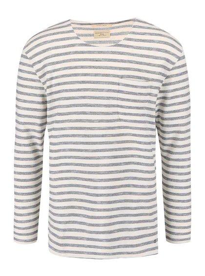 Bluză cu dugi și buzunar Selected Homme Morris crem-albastră