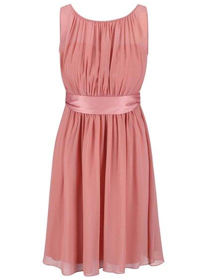 Růžové šaty se stuhou kolem pasu Dorothy Perkins