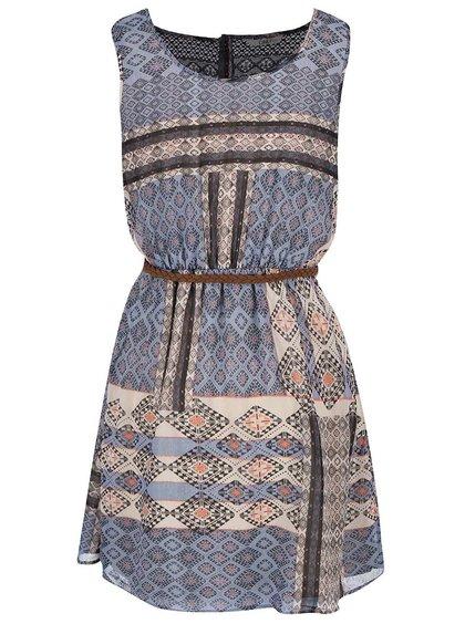 Béžové vzorované šaty s opaskom ONLY Lia
