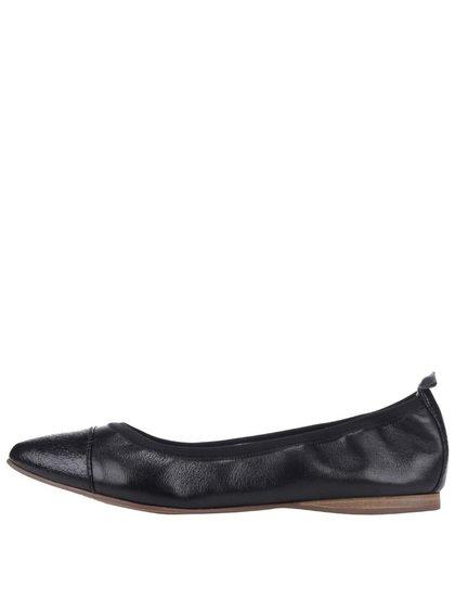 Čierne kožené balerínky Tamaris