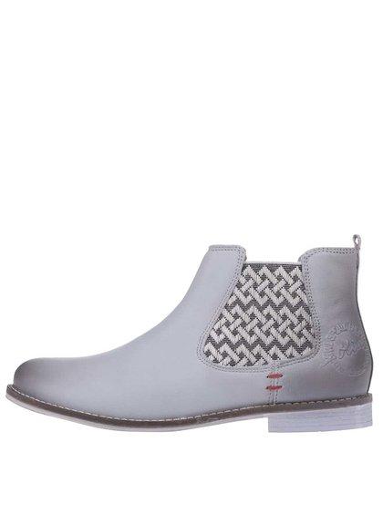 Šedé dámské kožené kotníkové boty s.Oliver