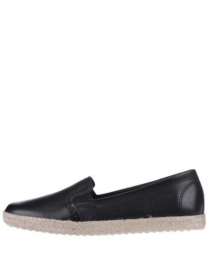 Čierne kožené loafers Tamaris