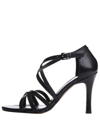 Čierne kožené remienkové topánky na ihlovom podpätku Tamaris