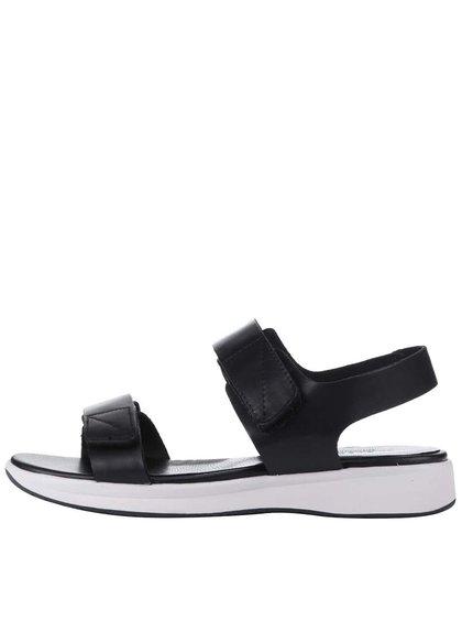 Černé kožené sandále s bílou podrážkou Vagabond Lola