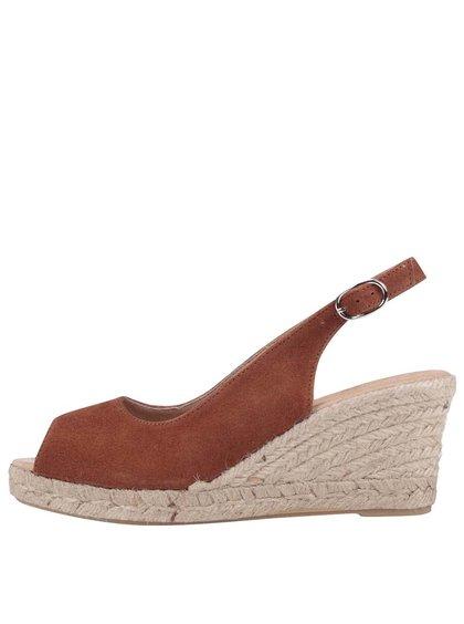 Hnedé kožené sandálky na platforme Tamaris