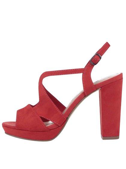 Červené páskové sandály na vysokém podpatku Tamaris