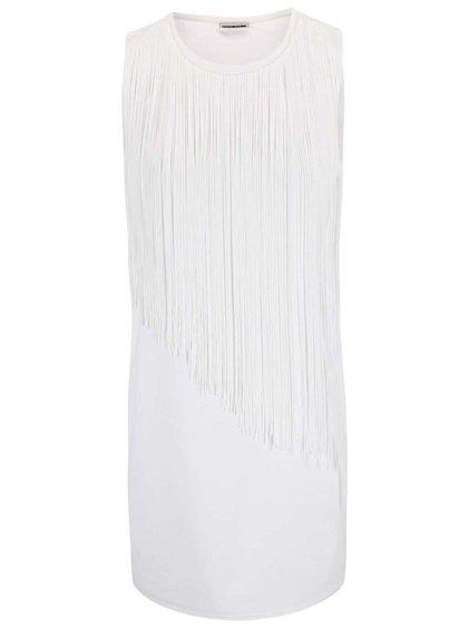 Bílé šaty s třásněmi Noisy May Frey