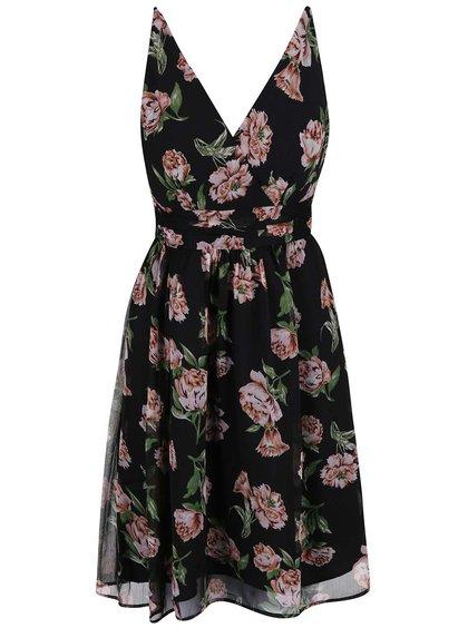 Černé šaty s květinovým potiskem Vero Moda Josephine